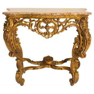 Italian Giltwood Marble Top Console For Sale