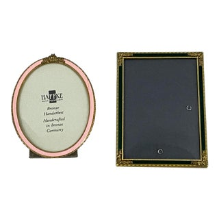 Pair of Vintage German Bronze & Enamel Table Top Picture Frames by Haffke For Sale