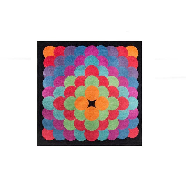 Herbert Bayer (1900 - 1985) Black and multi-colored hand-tufted wool tapestry in a prismatic motif. Signed: [BAYER C]....