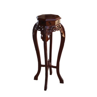 Chinese Medium Brown Octagonal Blossom Flower Curved Legs Plant Stand For Sale