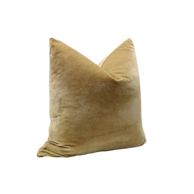 """22"""" Italian Silk Velvet Pillows in Camel - A Pair - Image 3 of 3"""