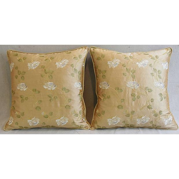 """24"""" Custom Tailored Embroidered White Rose Silk Feather/Down Pillows - Pair For Sale - Image 9 of 12"""