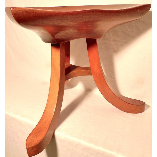 Wood Vintage Early 20th Century Sculpted Ash Tripod Saddle Stool For Sale - Image 7 of 12