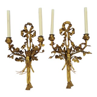 19th Century French Classical Bow & Tassel Gilt Bronze Angel Wall Sconces - a Pair For Sale
