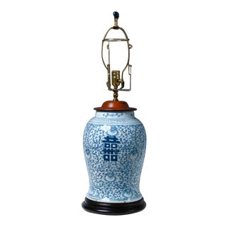 Mid 19th Century Chinese Blue & White Ceramic Baluster Vase Lamp For Sale