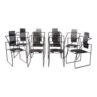 Set of Eight Alias Italian Botta Quinta Op Art Chairs For Sale