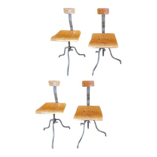 Unusual Belgian Industrial Chairs - Set of 4 For Sale