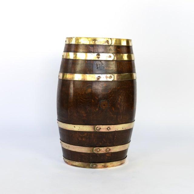 Late 19th Century English Brass Bound Oak Barrel, Circa 1890 For Sale - Image 5 of 7