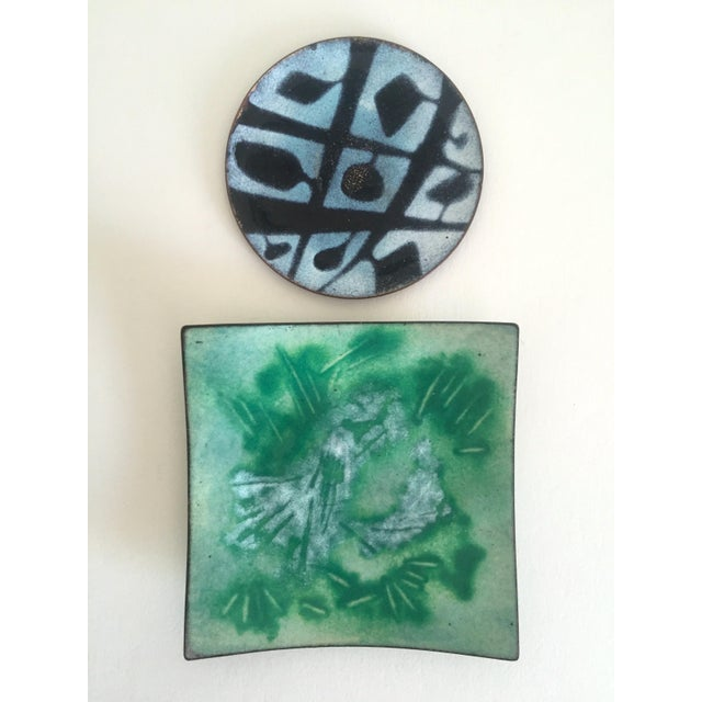 Abstract Mid-Century Copper & Enamel Plates - A Pair For Sale - Image 3 of 10