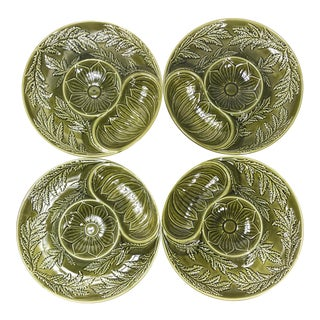 Mid 20th Century Green Majolica Plates From Secla, Portugal - Set of 4 For Sale