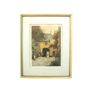 Alfred Van Neste, Entrée Du Chateaux Signed Etching Print. Early 20th Century Antique For Sale