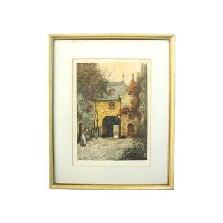 Early 20th Century Antique Alfred Van Neste Entrée Du Chateaux Signed Etching Print For Sale