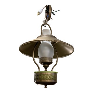 Mid-20th Century Frosted Glass + Metal Lantern Chandelier For Sale