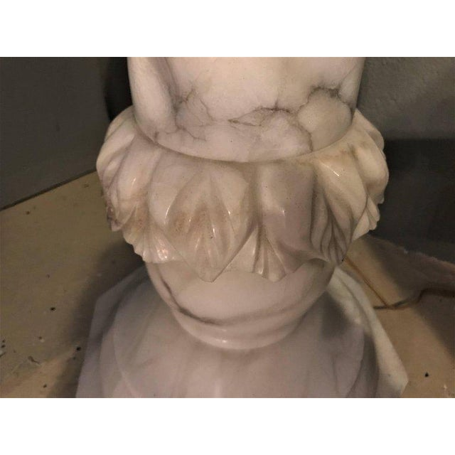 Fine Neoclassical Alabaster Figure of a Water Maiden Lighted on a Pedestal For Sale - Image 10 of 11