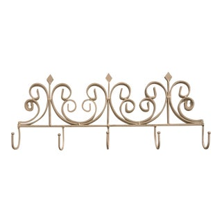 1990s 5-Hook Scroll Wall Mounted Coat Rack For Sale