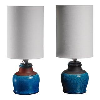 Pair of Kahler ceramic table lamps, Denmark, 1960s For Sale