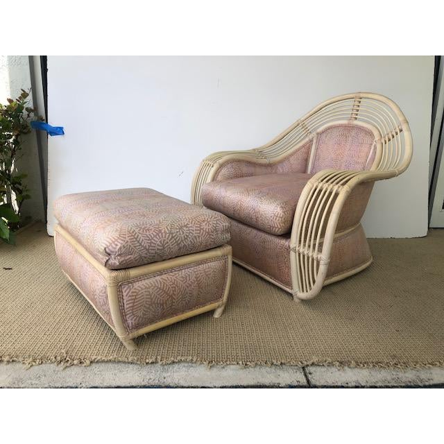 1980s Vintage Palm Beach Regency Rattan and Reed Lounge Chair & Ottoman For Sale - Image 11 of 11