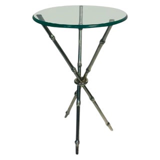 BEAUTIFUL FAUX BAMBOO CHROME SIDE TABLE OR ACCENT TABLE