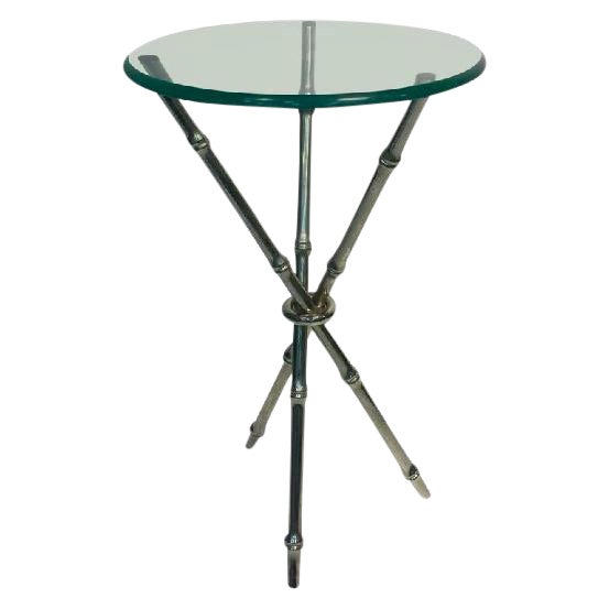 BEAUTIFUL FAUX BAMBOO CHROME SIDE TABLE OR ACCENT TABLE For Sale
