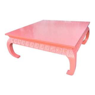 1960's Hollywood Regency Light Pink Coffee Table For Sale