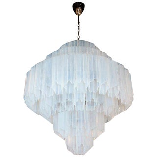 Modernist Hand Blown Murano Glass Opalescent 6-Tier Bias Cut Tronchi Chandelier For Sale