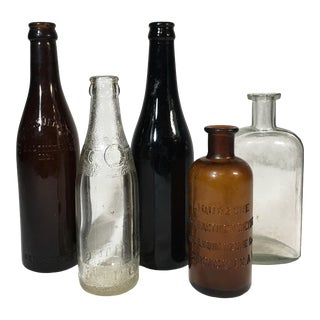Antique Clear and Amber Glass Bottles - Set of 5 For Sale