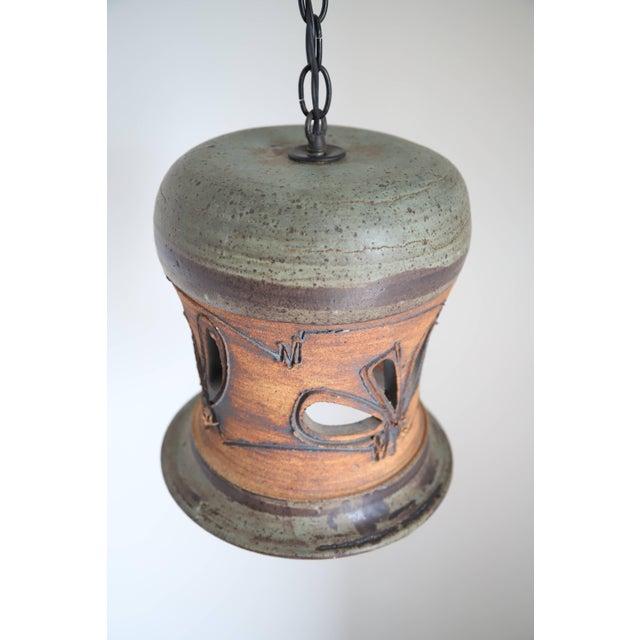 Vintage Hand Thrown Ceramic Pendant Light - Image 3 of 11