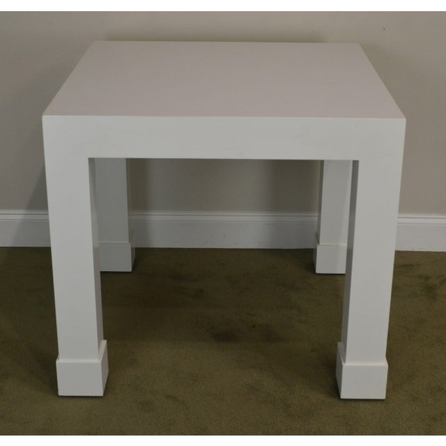 1970s White Lacquer Mid Century Square Parsons Game Table For Sale - Image 5 of 12