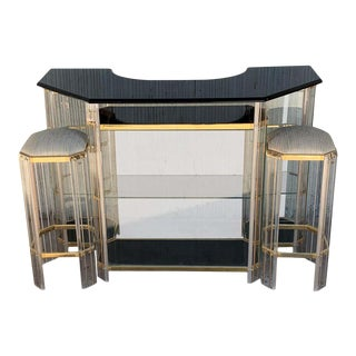 Italian Century Modern Chrome, Lucite & Glass Signed Dry Bar With Stools For Sale