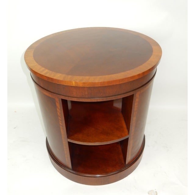 Mid 20th Century Baker Furniture Inlaid Banded Mahogany Drum Shaped Book Case For Sale - Image 5 of 13