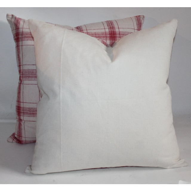 Red and White Striped Pillows - A Pair For Sale - Image 5 of 7