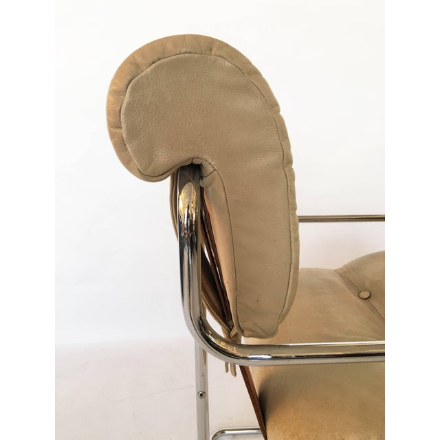 "1970s Guido Faleschini Italian Leather ""Tucroma"" Chair by I4 Mariani for Pace For Sale - Image 5 of 9"
