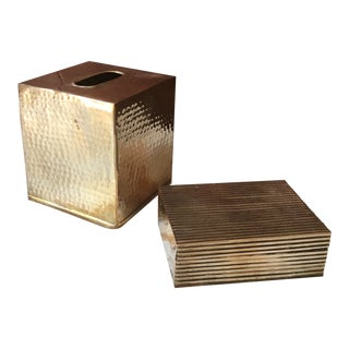 Hand-Hammered Tissue Box and Reticulated Trinket Box - Set of 12 For Sale