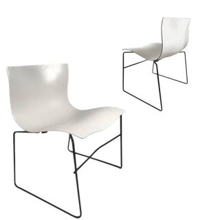 Knoll Massimo Vignelli Handkerchief Stacking Chairs in Black & White . 40 Available For Sale