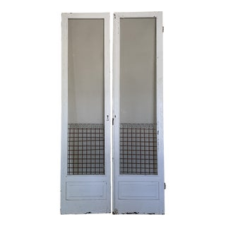 Antique 1910s Southern White Screen Doors - a Pair For Sale
