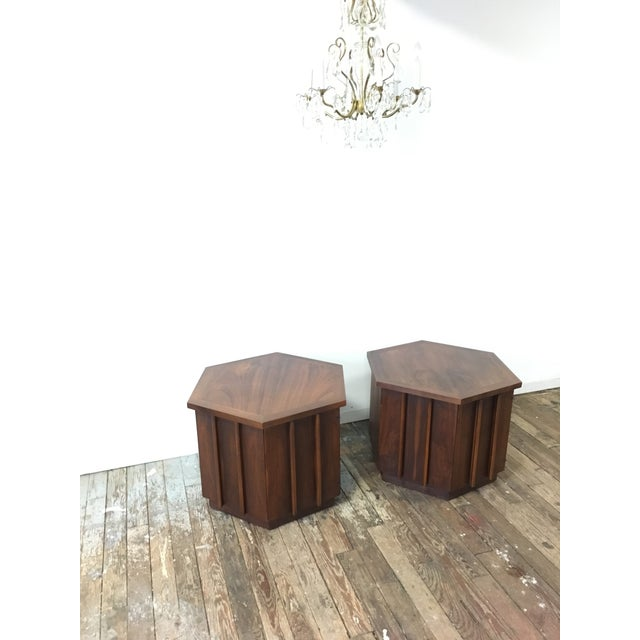 Mid-Century Lane Hexagon Walnut Side Tables - a Pair For Sale - Image 10 of 10