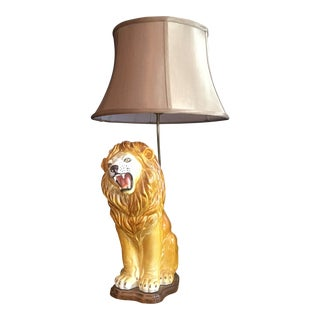 Large Italian Hand-Painted Porcelain Lion Sculpture Mounted Lamp