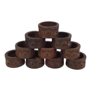 1970s Boho Indian Wood Napkin Rings - Set of 10 For Sale