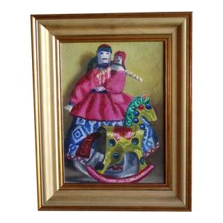 1970s Mexican Folk Art Still Life Oil Painting by Alfonso Tirado, Framed For Sale