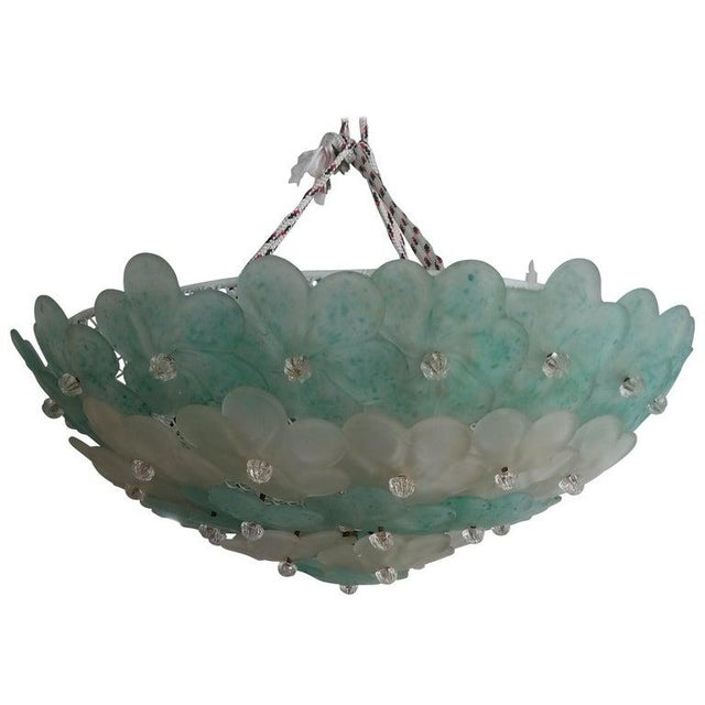 Mid-Century Modern Murano Flush Mount Chandelier Floral For Sale - Image 11 of 12