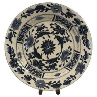 20th Century Chinese Blue and White Hand Painted Chargers - Set of 18 For Sale