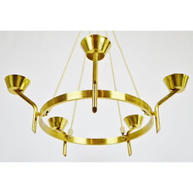 Antique Brass & Rope Chain 5 Light Chandelier - Image 10 of 10