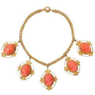 Miriam Haskell Coral Cameo Necklace For Sale