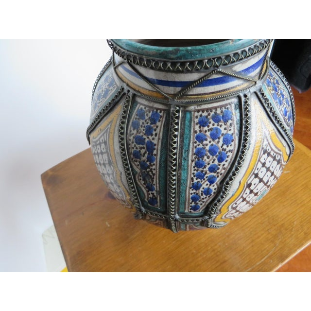 Antique Moroccan Jar with Filigree For Sale - Image 9 of 11