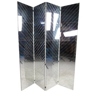 Tall Vintage Modern Mirrored Room Divider