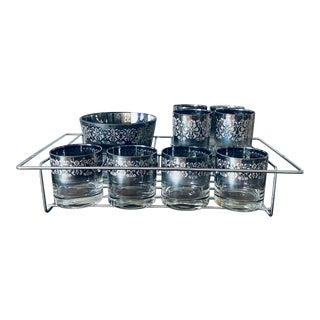 Vintage Dorothy Thorpe Bar Ware Set - 8 Glasses, Ice Bucket, and Tray For Sale