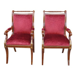 Naurelle Italian Mahogany and Guilt Wood Empire Arm Chairs-a Pair For Sale