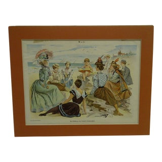 "1890 Antique ""Cupid"" Matted Print For Sale"