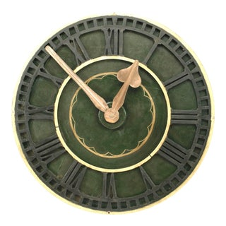 English Victorian Green Clock For Sale