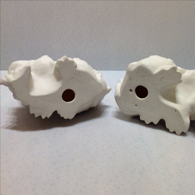 1960s White Porcelain Foo Dogs - A Pair For Sale - Image 10 of 11
